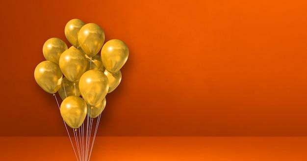Mazzo di palloncini gialli sul fondo della parete arancione. bandiera orizzontale. rendering di illustrazione 3d