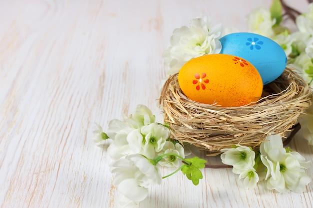 Uova di pasqua gialle e blu nel nido di paglia e ramo con fiori su fondo di legno bianco con spazio per testo.