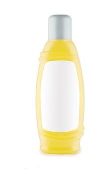 Bottiglia gialla di shampoo isolata