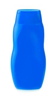 Bottiglia gialla su sfondo bianco