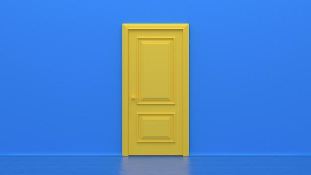 Porta chiusa gialla sulla parete blu