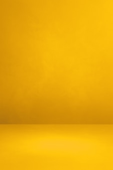 Fondo interno concreto giallo. scena modello vuoto