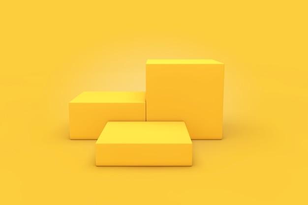 Yellow cubes products stage piedistallo su sfondo giallo. rendering 3d