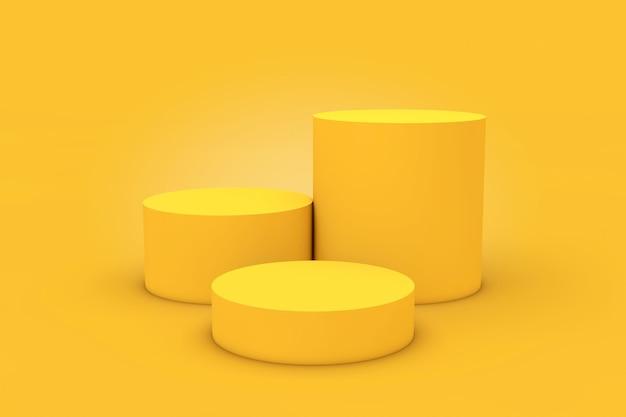 Piedistallo giallo della fase dei prodotti del cilindro su un fondo giallo. rendering 3d