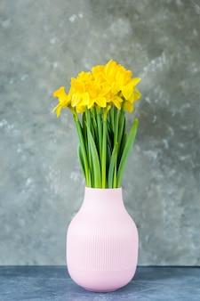 I narcisi gialli fioriscono in primavera in un vaso su uno sfondo grigio