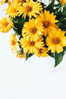 Bouquet di fiori margherita gialla isolato su superficie bianca