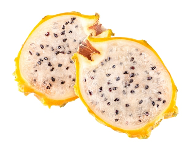Frutto del drago giallo (pitaya, pitahaya) isolato su sfondo bianco