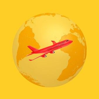 Globo terrestre giallo con aereo del passeggero red jet in stile bicolore su sfondo giallo. rendering 3d