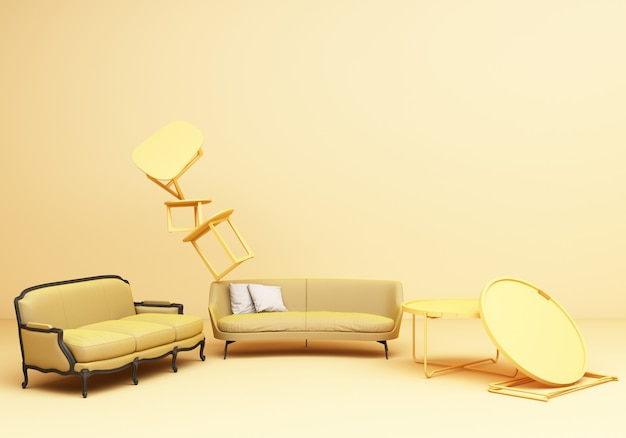 Composizione di divertimento tavolo poltrona divano classico mobili gialli su sfondo giallo rendering 3d