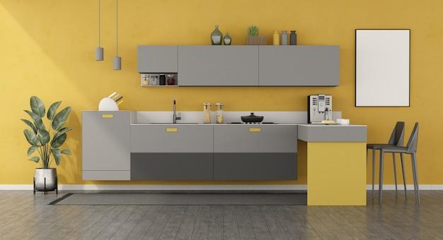 Cucina minimalista gialla e grigia con penisola e sgabelli - rendering 3d