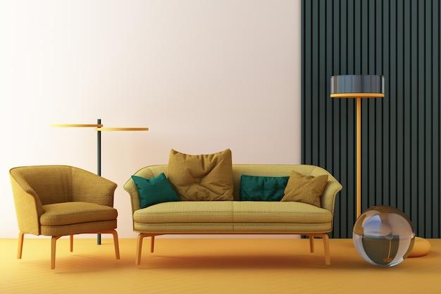 Sedie di colore giallo e verde, divano, poltrona in uno sfondo vuoto. circondati da forme geometriche concetto di minimalismo e installazione artistica. rendering 3d mock up