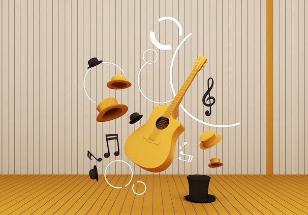 Chitarra gialla e cappello nero con tasti musicali su un pavimento giallo e sfondo 3d render.