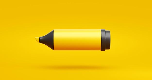 Pennarello a inchiostro giallo o disegno di arte grafica a matita evidenziatore su sfondo vivido con cancelleria didattica per un concetto di colore creativo. rappresentazione 3d.