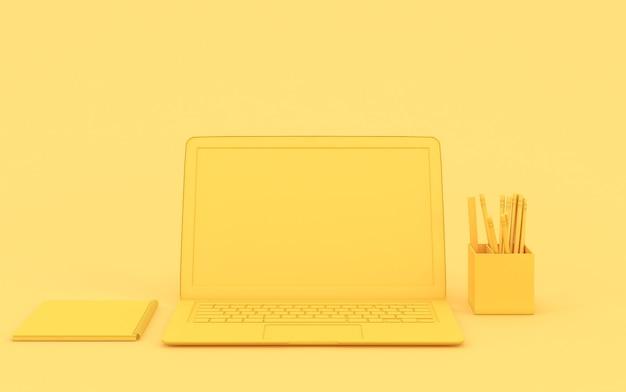 Computer portatile giallo con uno spazio vuoto. concetto di idea minima. rendering 3d