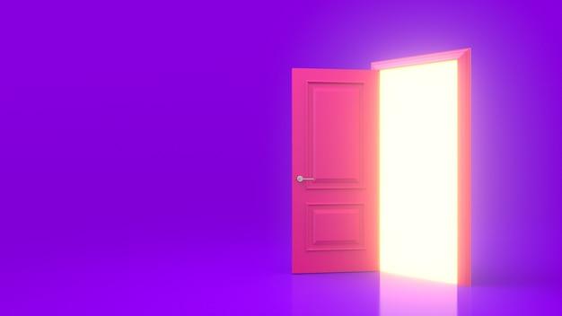 Luce gialla all'interno di una porta rosa aperta isolata su una parete viola