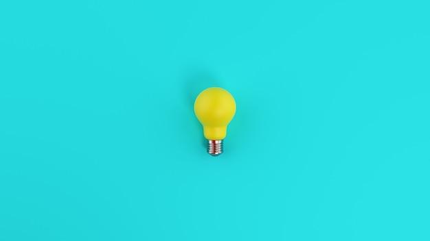 Lampadina gialla su sfondo azzurro. concetto di creatività e idea