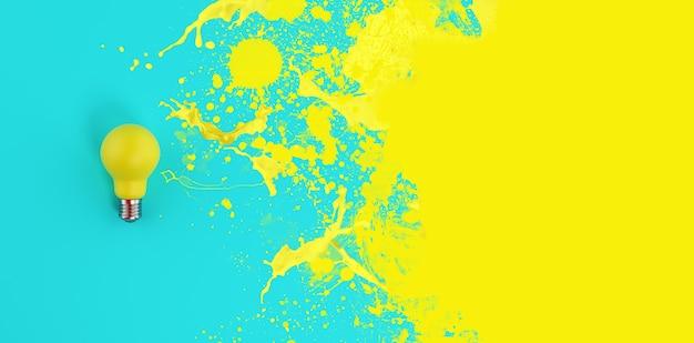 Lampadina gialla con effetto spray. concetto di creatività e idea