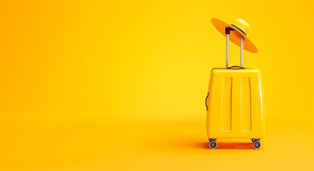 Bagagli gialli e cappello concetto di viaggio sfondo copia spazio 3d rendering