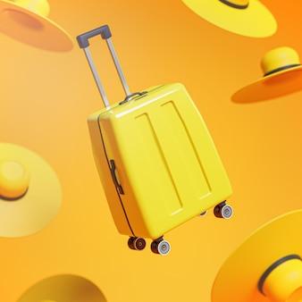 Bagaglio giallo tra cappelli concetto di viaggio sfondo 3d rendering