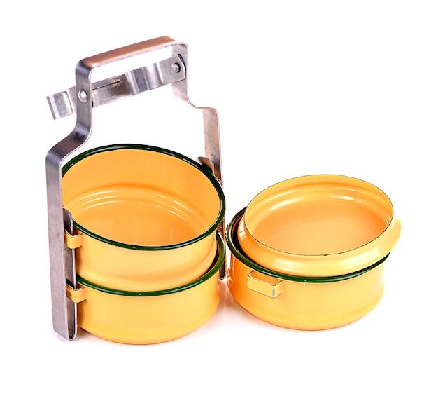 Supporto in metallo giallo, supporto per cibo tailandese antico tiffin