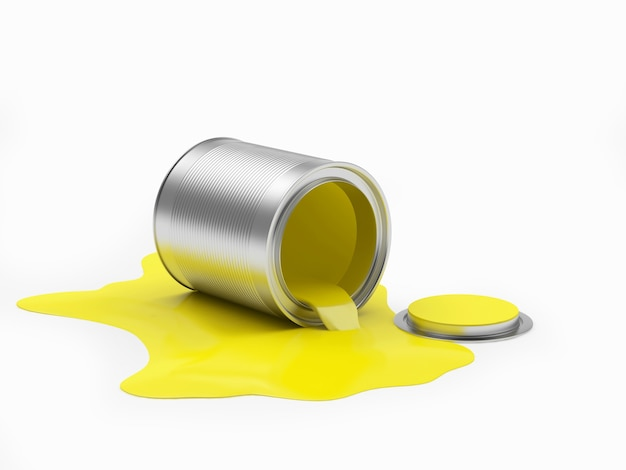 Vernice gialla fuoriuscita da un barattolo aperto
