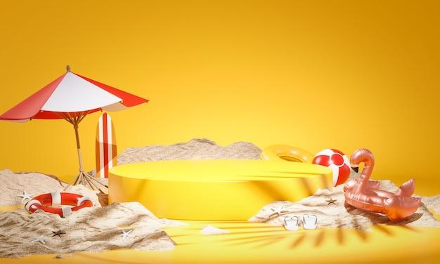Esposizione gialla del prodotto del podio summer concept sand rendering 3d