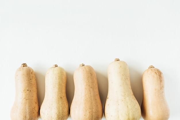 Zucche gialle su superficie bianca