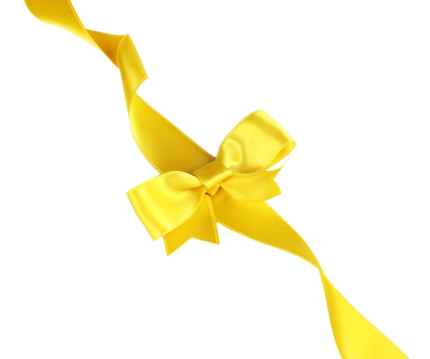 Fiocco di nastro giallo isolato su bianco
