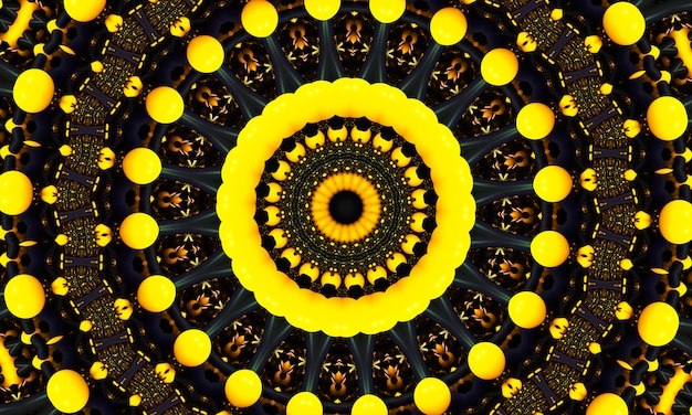 Figura di punto rotondo giallo. modello senza cuciture con cerchi. fondo blu astratto. illustrazione. una buona scelta per il display di sfondo, il sito web, i volantini, le brochure e le presentazioni.