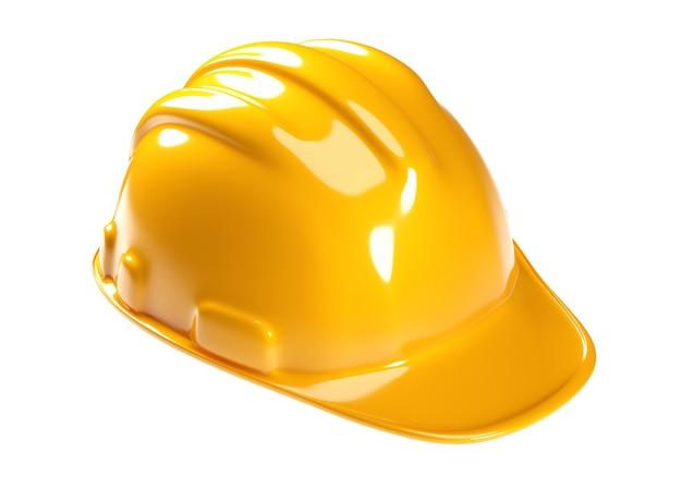 Casco di sicurezza giallo noto come elmetto protettivo su superficie bianca. percorso di residuo della potatura meccanica. rendering 3d