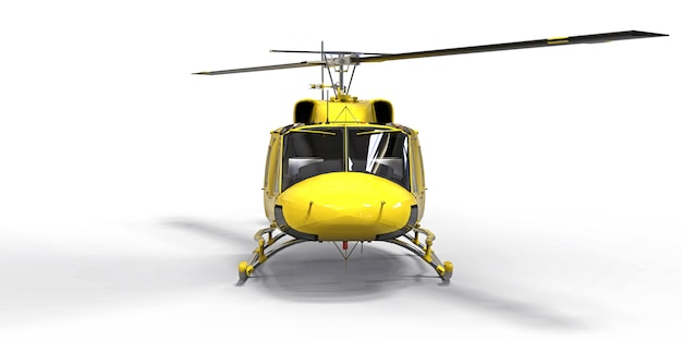 Piccolo elicottero militare giallo di trasporto su superficie isolata bianca. il servizio di salvataggio in elicottero. taxi aereo elicottero per polizia, vigili del fuoco, ambulanza e servizio di salvataggio