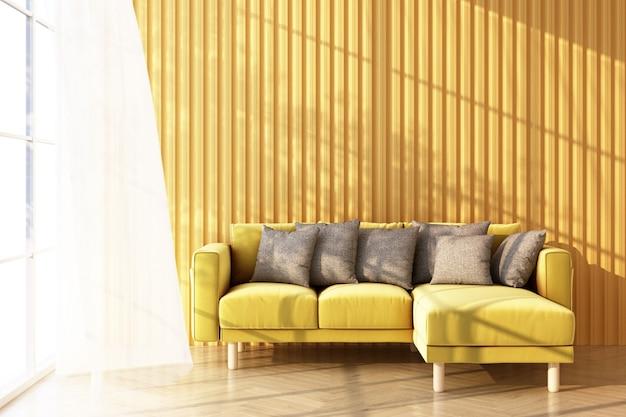 Divano giallo sul pavimento di legno la luce filtra attraverso la finestra e le ombre cadono su di essa. con parete gialla e puro rendering 3d