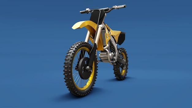 Bici sportiva gialla per sci di fondo su fondo blu Foto Premium