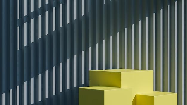Podio quadrato giallo per la presentazione del prodotto su stile minimal sfondo grigio muro seghettato., modello 3d e illustrazione.