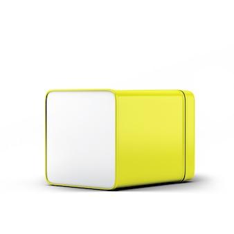 Yellow square tin can packaging mockup per il tuo progetto di design - mock up 3d illustrazione isolare su sfondo bianco.