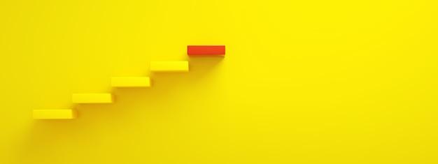 Scale gialle che portano al gradino più alto rosso, livello superiore o carriera, rendering 3d, layout panoramico