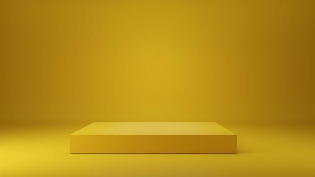 Podio giallo su sfondo giallo. piedistallo vuoto. podio per l'esposizione del prodotto. rendering 3d.