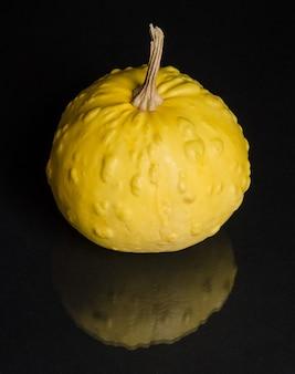 Zucca testurizzata gialla su un primo piano sfondo nero specchio