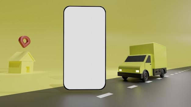 Il camion giallo con mockup di telefono cellulare schermo bianco, su sfondo giallo consegna dell'ordine