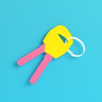Giallo due chiavi sul portachiavi su sfondo blu brillante in colori pastello. concetto di minimalismo. rendering 3d