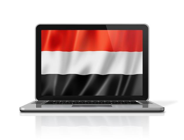 Bandiera dello yemen sullo schermo del computer portatile isolato su bianco. rendering di illustrazione 3d.