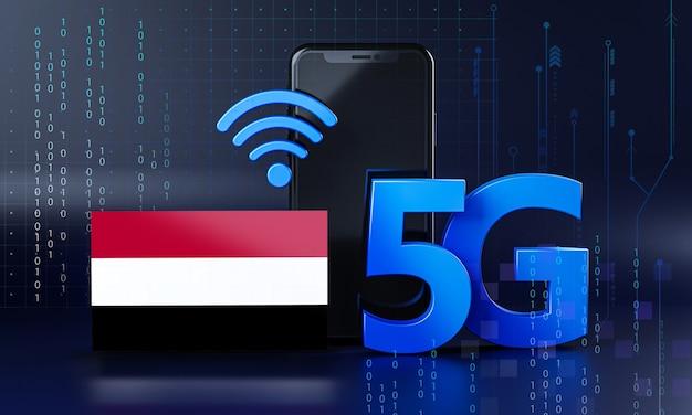 Yemen pronto per il concetto di connessione 5g. sfondo di tecnologia smartphone rendering 3d