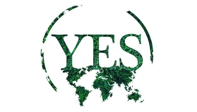 Sì segno. mappa del mondo dall'erba verde. tendenze ecologiche. protezione dell'ambiente di piante e alberi. isolato su sfondo bianco. salva la natura.