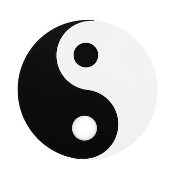 Yin yang simbolo di armonia ed equilibrio su uno sfondo bianco. rendering 3d.