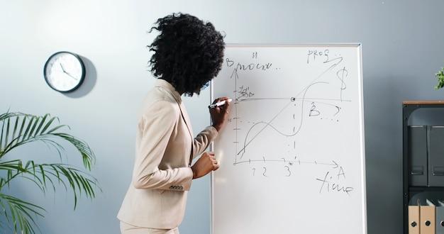 Giovane insegnante femminile afroamericano in maschera medica in piedi a bordo e spiegando fisica o geometria in classe concetto di pandemia. scuola durante il coronavirus. formazione scolastica. lezione d'affari.