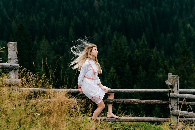 Giovane ragazza bionda attraente in vestito bianco con ricamo che si siede sulla staccionata in legno sul pittoresco paesaggio forestale