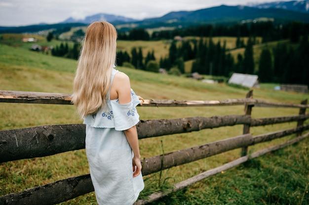 Giovane ragazza bionda elegante attraente in vestito blu che posa indietro vicino al recinto in campagna