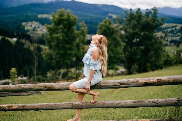 Giovane ragazza bionda elegante attraente in vestito blu che si siede sulla staccionata in legno in campagna