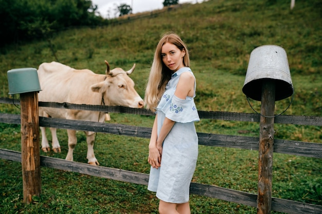 Giovane ragazza bionda elegante attraente in vestito romantico blu in posa con la mucca in campagna