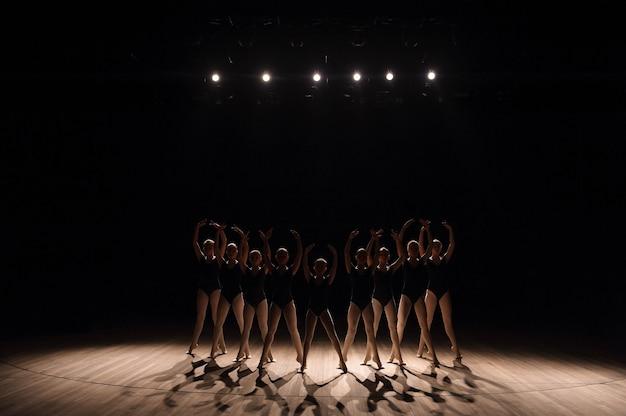 Giovani ballerine che praticano una danza coreografata facendo piovere le braccia all'unisono aggraziato durante gli allenamenti in una scuola di danza.